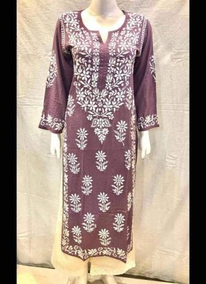 Causal Wear Chain Stitch Maroon Salwar Suit