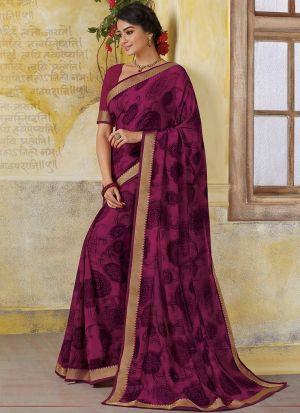 Ceremonial Classic Dark Pink Georgette Designer Saree