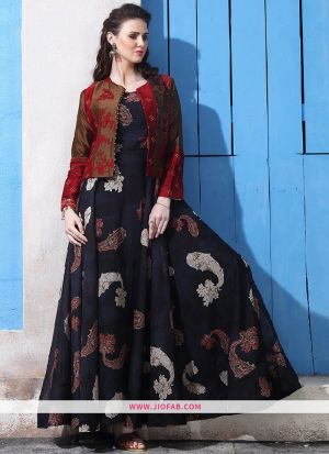 Chanderi Cotton Black Gown