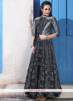Chanderi Cotton Grey Gown