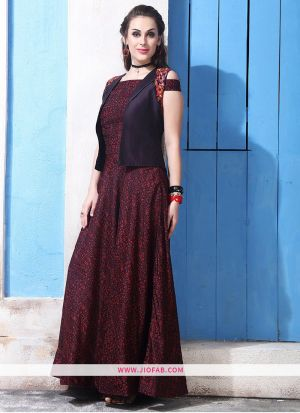 Chanderi Cotton Maroon Gown