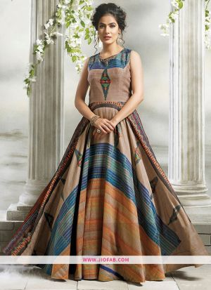 Chanderi Cotton Multi Color Gown