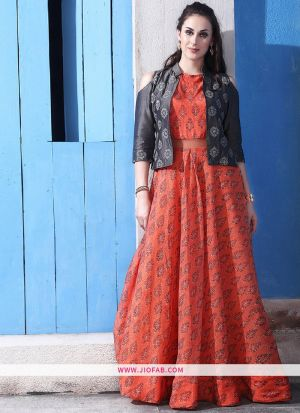 Chanderi Cotton Orange Gown