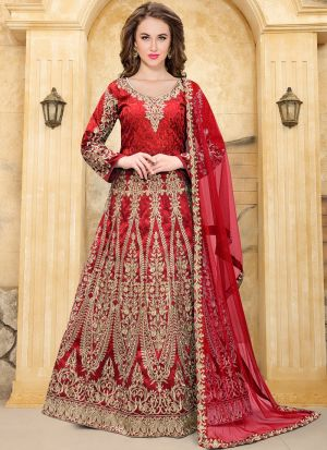 Cherry Red Taffeta Aanaya Wedding Salwar Suit