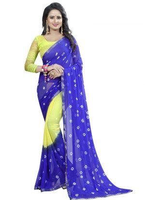 Chiffon Blue And Yellow Party Wear Bandhani Saree