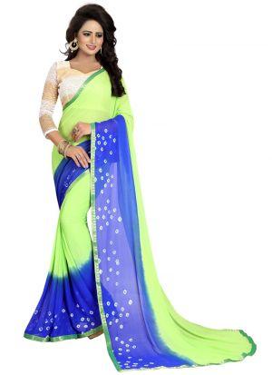 Chiffon Green And Blue Party Wear Bandhani Saree