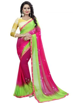Chiffon Pink And Green Party Wear Bandhani Saree