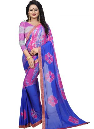 Chiffon Pink Party Wear Saree