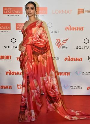 Chinon Silk Red Deepika Padukone Bollywood Saree