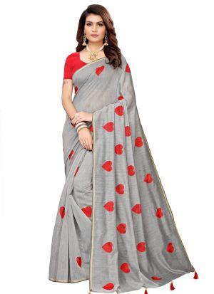 Classic Grey Solid Designer Saree