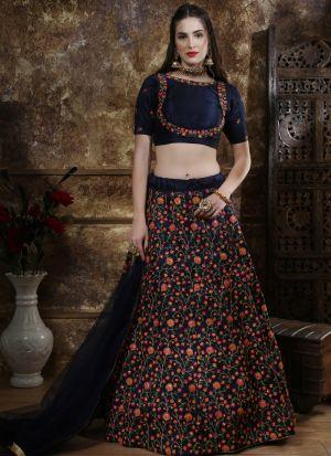 Classic Partywear Navy Designer Lehenga Choli With Bridal Net Dupatta