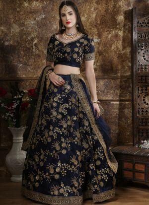 Classic Partywear Phantom Silk Navy Designer Lehenga Choli With Bridal Net Dupatta
