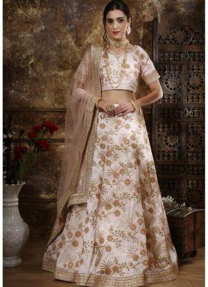 Classic Partywear Phantom Silk Peach Designer Lehenga Choli