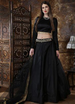 Classic Partywear Taffeta Satin Black Designer Lehenga Choli