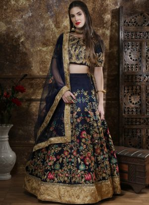 Classic Partywear Thai Silk Navy Designer Lehenga Choli With Bridal Net Dupatta