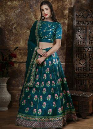Classic Partywear Thai Silk Teal Blue Designer Lehenga Choli With Bridal Net Dupatta