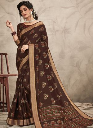 Coffee Color Digital Printed Awesome Saree