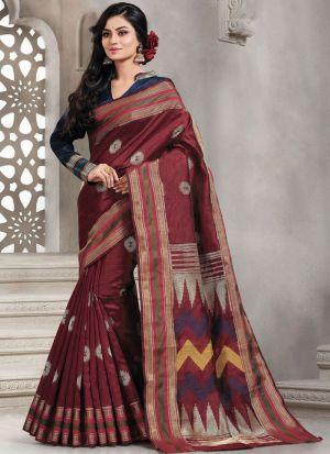 Coffee Elegant Handloom Silk Saree