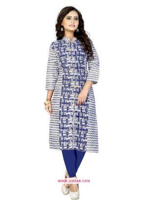 Cotton Blue Printed Designer Kurti
