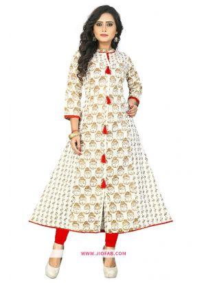 Cotton Fabric Cream Printed Designer Kurti
