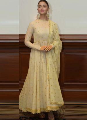 Cream Alia Bhatt Anarkali Pattern Long Salwar Kameez