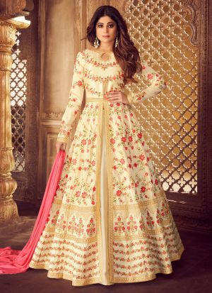 Cream Mulberry Silk Embroidered Pakistani Suit
