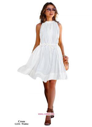 Crepe Western Wear Frock In White Color