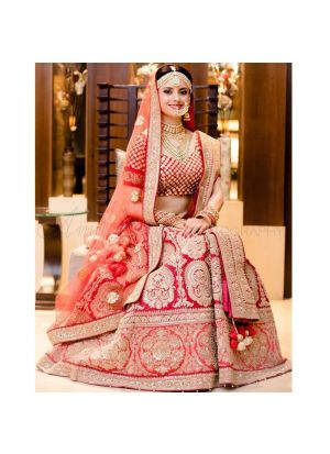 Crimson Red Banglori Silk Indian Latest Bridal Lehenga Design With Mono Net Dupatta