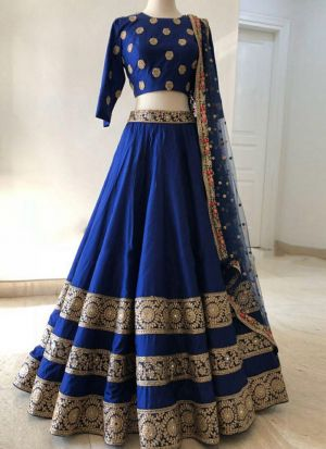 Dark Blue Embroidered Sequnce Thread Taffeta Silk Designer Lehenga