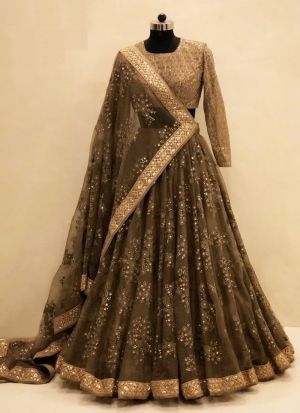 Dark Brown New Hit Design Lehenga Choli Collection