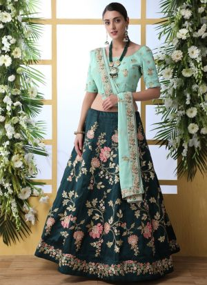 Dark Green Art Silk Attractive Party Wear Designer Lehenga Choli