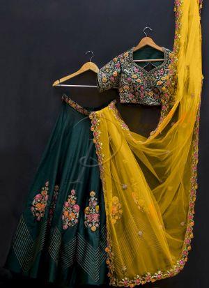 Dark Green Banglori Silk Fancy Thread Work Lehenga Choli With Mono Net Dupatta