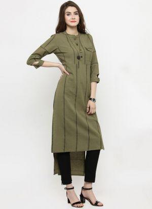 Dark Green Cotton Blend Designer Pakistani Kurti