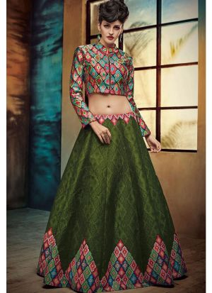 Dark Green Embroidered Bhagalpuri Print Fabric Wedding Anarkali Lehenga With Net Dupatta