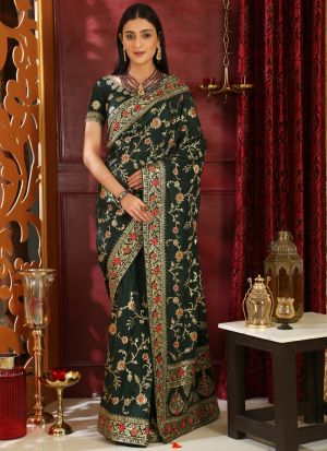 Dark Green Embroidered Silk Designer Sarees For Festival