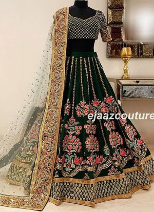 d6c33da447 ... Dark Green Lehenga Choli Taffeta Silk Fancy Thread Work With Mono Net  Dupatta