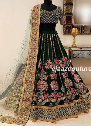 Dark Green Lehenga Choli Taffeta Silk Fancy Thread Work With Mono Net Dupatta