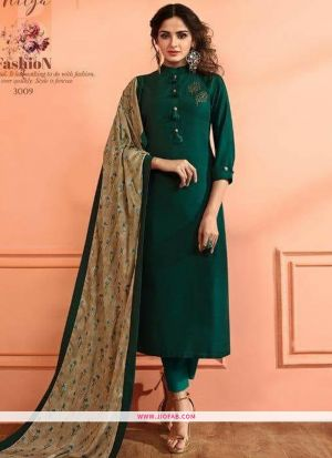Dark Green Maslin Plain Designer Salwar Suit