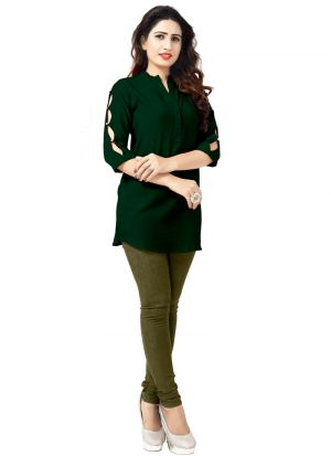 Dark Green Rayon Women Latest Wear Kurti Collection