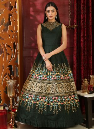 Dark Green Silk Designer Gown