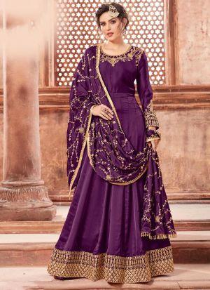 Dark Purple Satin Georgette Designers Salwar Kameez Dresses For Eid