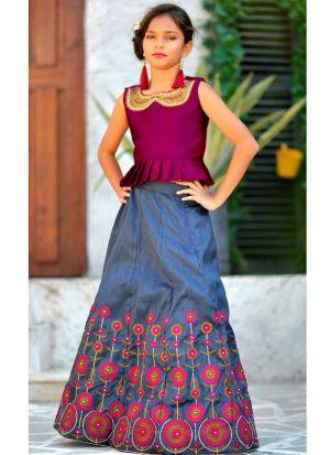 Deep Pink Silk Party Wear Baby Girl Stylish Lehenga Choli