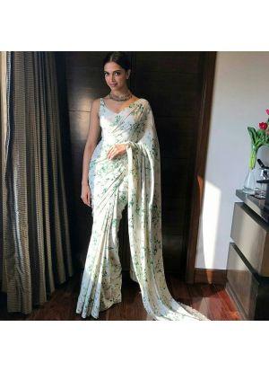 Deepika Padukone Bollywood White Chinon Silk Digital Printed Saree