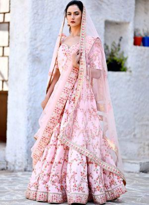 Delightful Flamingo Pink Chennai Silk Designer Lehenga Choli For Party