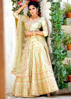 Delightful Olive Green Malai Satin Designer Lehenga Choli For Sangeet Ceremony