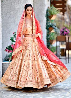 Delightful Peach Malai Satin Designer Lehenga Choli For Sangeet Ceremony