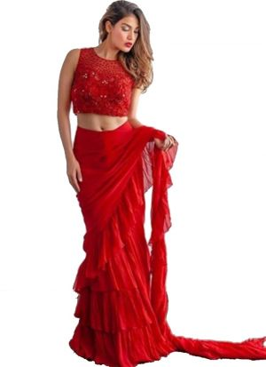 Demanded Red Georgette Plain Ruffle Saree