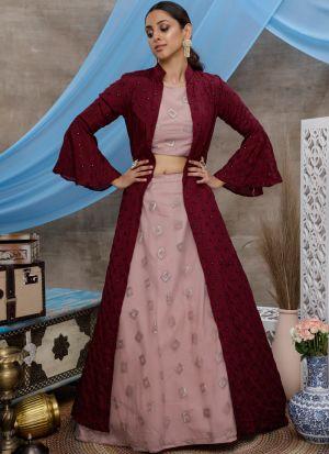 Demanding Dusty Pink Net Lehenga Choli With Purple Koty