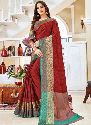 Demanding Maroon Handloom Silk Saree