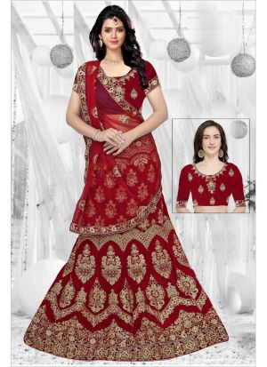 Demanding Red 9000 Velvet Indian Bridal Lehenga Choli Collection